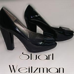 Stuart Weitzman black patent block heels 7.5